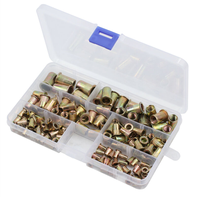 150Pcs Durable Rivet Nut End Threaded Insert Fastener Carbon Steel Accessories
