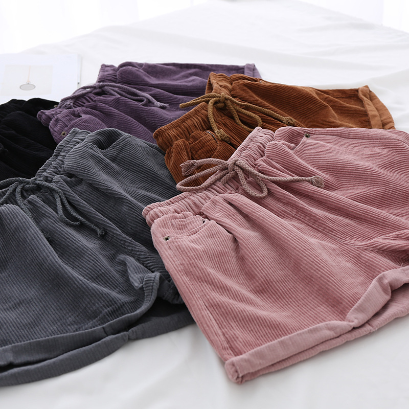 Cuffed Drawstring Corduroy Shorts Women Washed Cotton Casual Shorts