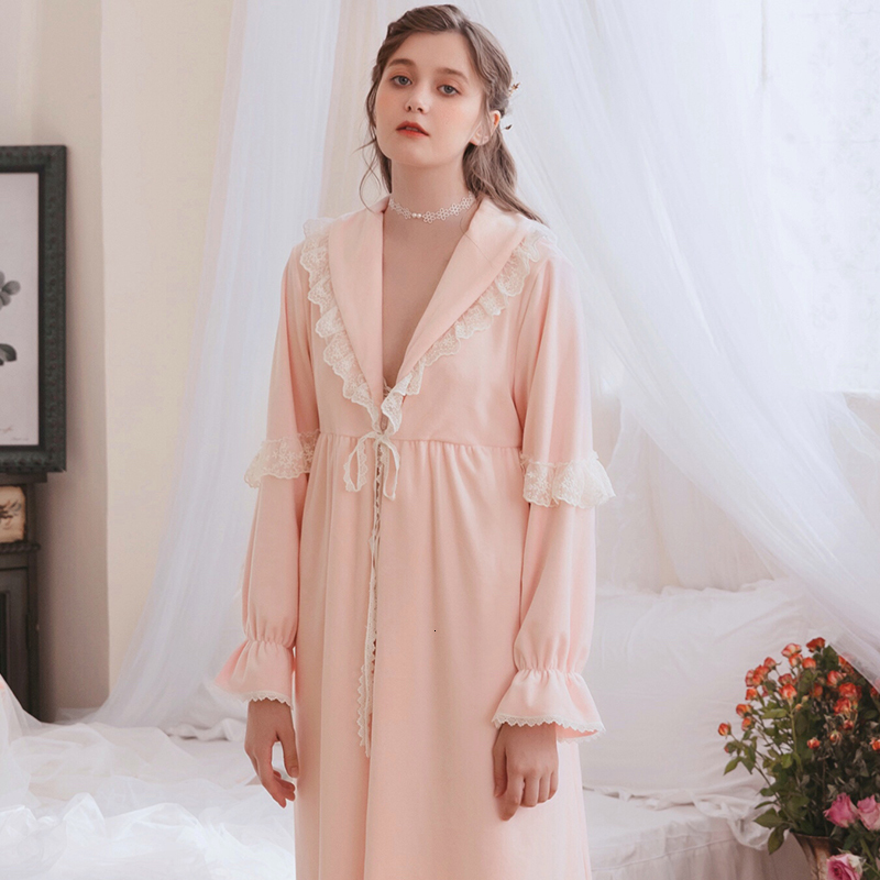 Winter Women Robe Coral Fleece Robe Vintage Romantic Woman Robes Autumn Long Sleeve Sleepwear Kawaii Pink