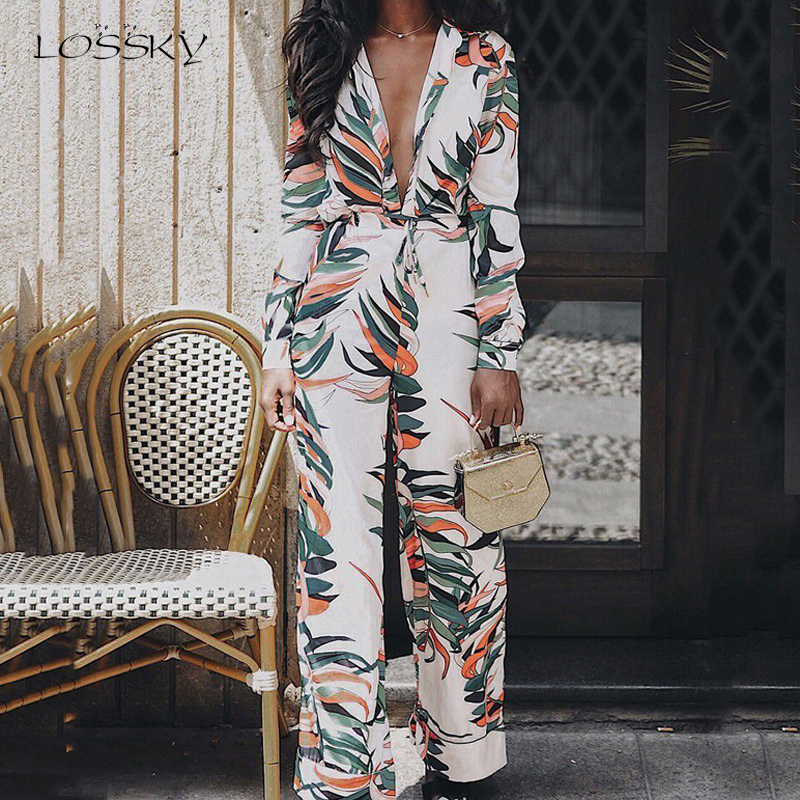 Lossky Women Rompers Jumpsuit Sexy V Neck Long Sleeve Autumn Winter Pant Suits Female Long Print Ladies Clothing Streetwear 2019