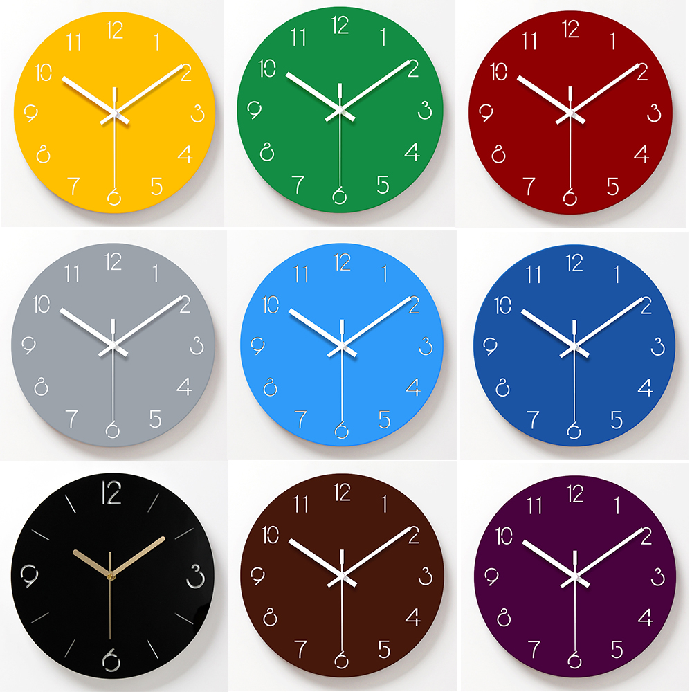 12 Inch Wall Clock Glass Acrylic Modern Home Decor Clock Silent Movement Non-Ticking Blue Wall Clocks
