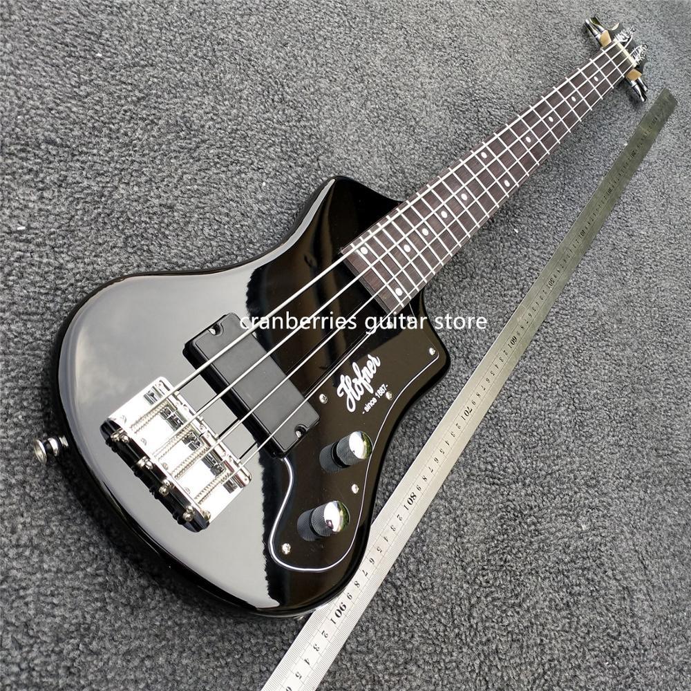 En STOCK, qualité supérieure, mini guitare basse 4 cordes avec sac souple, modèle horfner, guitare électrique noire, livraison gratuite