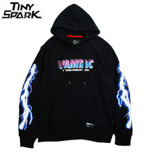 Hip Hop Men Hoodie Sweatshirt Cool Lightning 3D Print Harajuku Hoodie Streetwear HipHop Casual Black Pullover Cotton Spring 2019