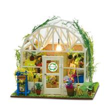 1Set DIY Dollhouse Wooden Miniature Furniture Kit Mini Green House Best Birthday for Women and Girls Art Decorative Supplies(China)