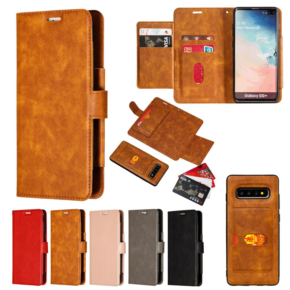 2 in 1 Detachable Leather Wallet Flip Case For Samsung Galaxy S10 Plus S10e S9 S8 Note 9 8 S7 Edge With Card Slots Back Cover in Wallet Cases from Cellphones Telecommunications