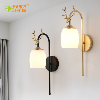 (Free E27 LED Bulb)Nordic wall lamp Antler led wall light Black/Golden Glass indoor wall light fixture for bedroom/living room
