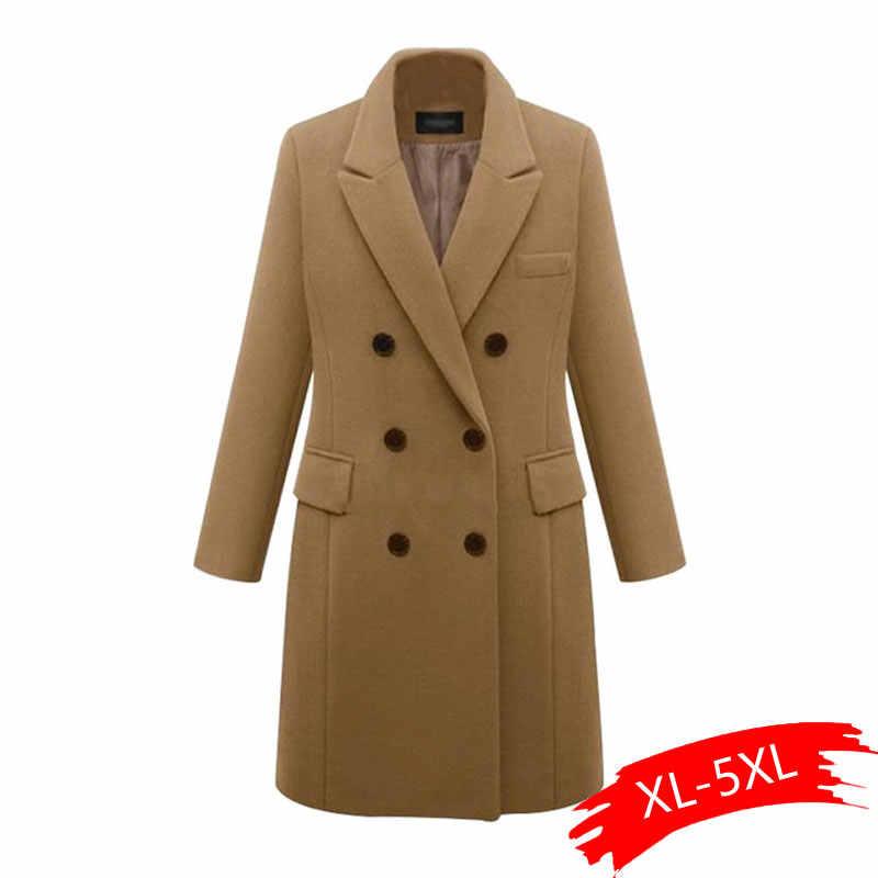 Plus Größe 5XL Übergroßen Mantel Frauen Winter Warm Verdicken Zweireiher Winddicht Jacke Slim Fit Lange Woolen Mäntel