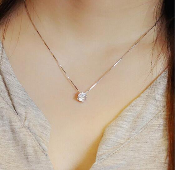 925 Sterling Silver Necklace Six Claw AAA CZ Mosaic Zirconia Choker Necklace For Women Collier Valentine's Day Gift