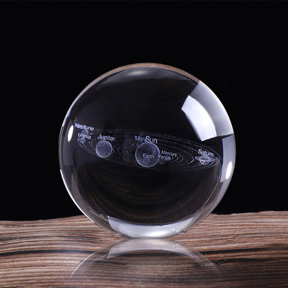 3D Solar System Crystal Ball Planets Glass Ball Laser Engraved Globe Miniature Model Home Decor Astronomy Gift Ornament