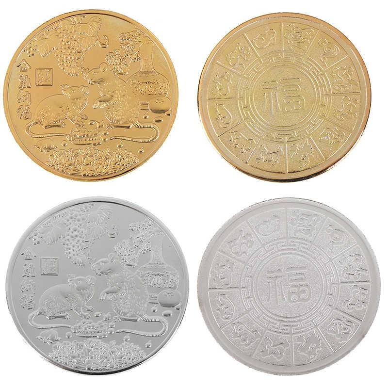 Hot 2020 Tahun Tikus Koin Peringatan Zodiak Cina Souvenir Tantangan Koin Tertagih Koleksi Seni Kerajinan