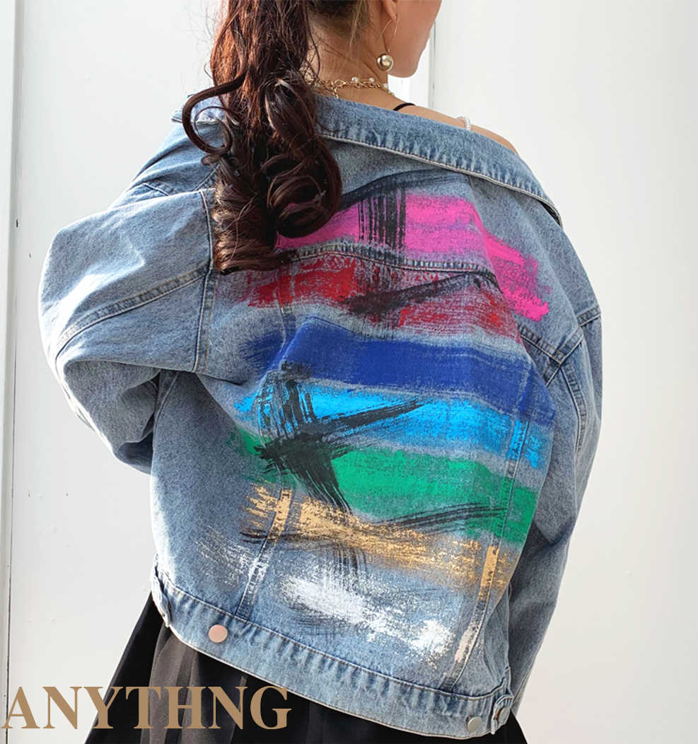 虹落書きデニムジャケット女性のための多色手描きのヒップホップの女性のデニムコートジャケット 2020 秋冬シックな衣装