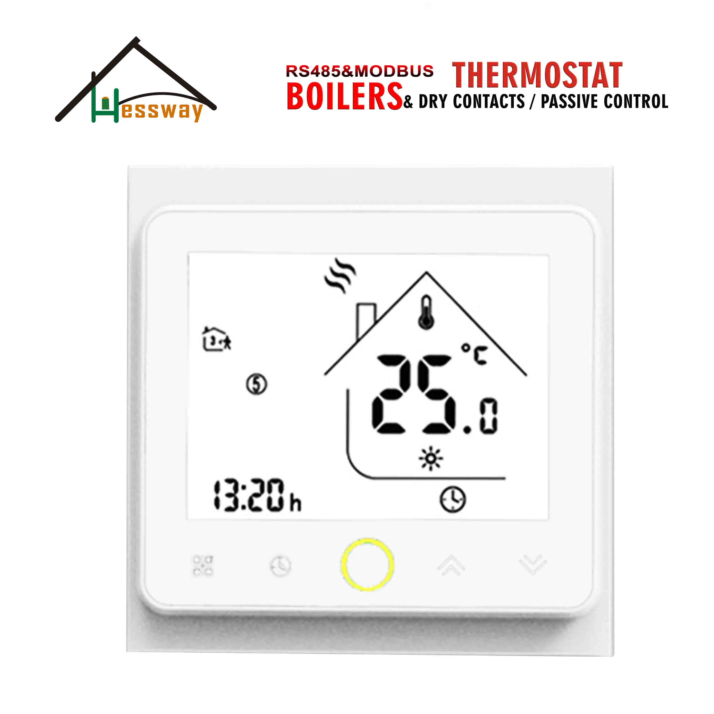 HESSWAY  Programmable Remote PC Control RS485 Modbus Thermostat For GasBoiler Dry Contact On&Off Control