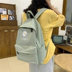 Image 2 - 2020 Solid backpack girl school bags for teenage College wind Women SchoolBag High student bag black nylon printing