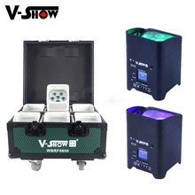 6pcs With Charge Flightcase Battery Powered Wireless DMX Wifi Remote Control Wedding Uplight 6x18w RGBWAUV 6in1 Led Par Dj Light