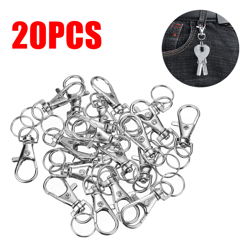 20Pcs 35mm Metal Keychain Buckle Rotatable Carabiner Keyring With Split Ring Household Key Hooks