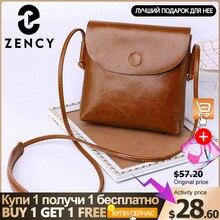 Zency 100% hakiki deri kadın Messenger çanta rahat Flap klasik kahverengi bayan omuz Crossbody çanta siyah süper kalite siyah