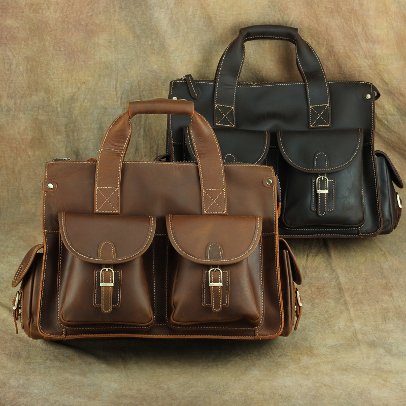 Nesitu Highend Vintage A4 Brown Thick Genuine Crazy Horse Leather Office 14'' Laptop Men Briefcase Portfolio Messenger Bag M003