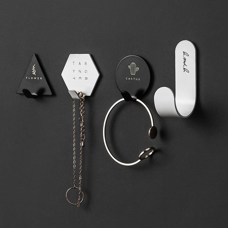 4pcs/set Simple Geometric Elements Key Hook Holder Nordic Self-adhesive Wall Coat Hanger Rack Storage Organizer Home Decoration