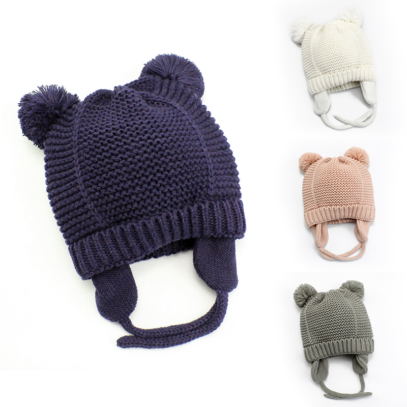 Cutex Knitted Pompom Baby Hat Cap Thick Warm Baby Girl Boy Hat Beanie Winter Ear Warm Kids Hat Baby Bonnet Muts For Newborn 02