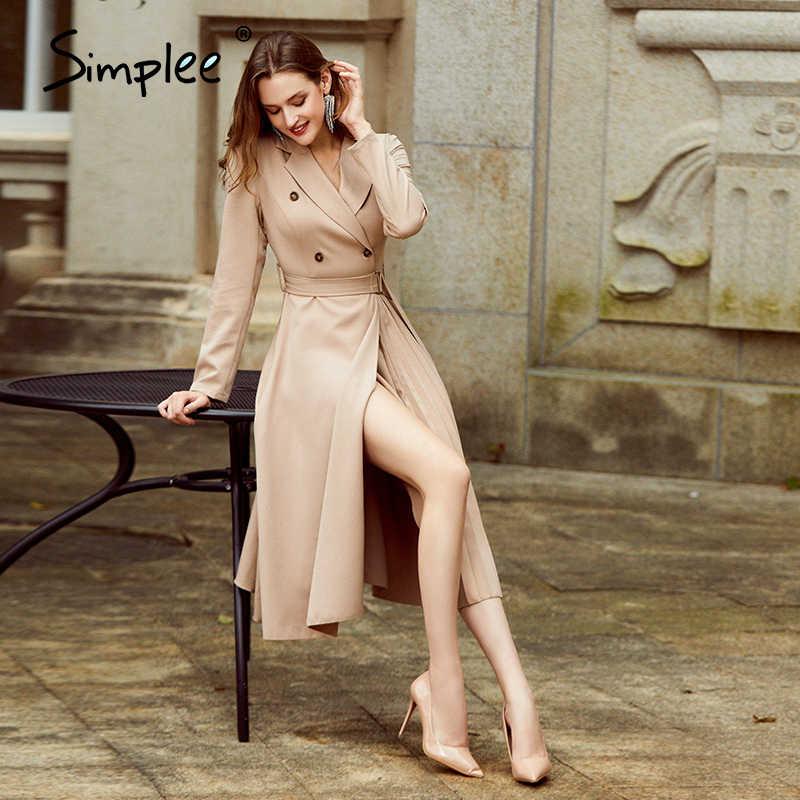 Simplee günlük giysi yaka sonbahar kadın elbise uzun kollu ofis bayan asimetrik uzun elbise ince kemer A-line kadın elbisesi