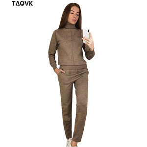 Image 2 - TAOVK Womens knitted Suits Spring sweater set Mid Line Turtleneck Pullover Sweater Pants two pieces Sets warm Jogging Costumes