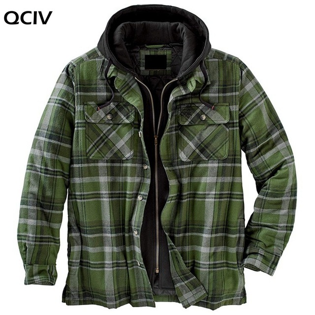Explosive Men's Clothing European American Autumn and Winter Models Thick Cotton Plaid Long-sleeved Loose Hooded Jacket 4
