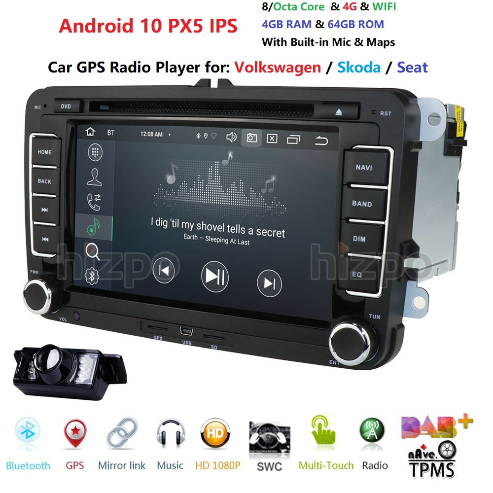 Two Din Car Multimedia Player Android 4G 64G PX5 Auto Radio For Skoda/Seat/Volkswagen/VW/Passat b7/POLO/GOLF 5 6 DVD GPS 8 Cores image