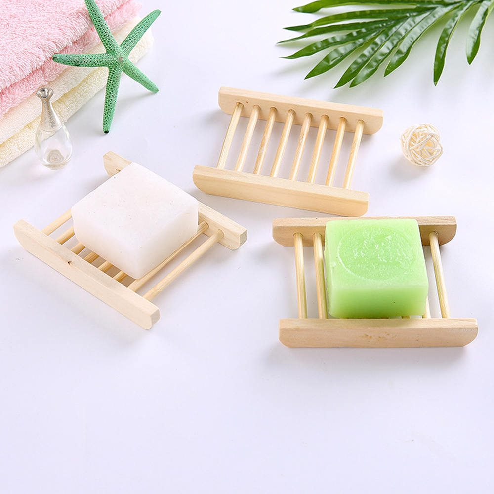 6pcs Natural Wooden Bamboo Soap Dish Holders Storage Rack Plate Box Shower Case Holder Container Bathroom Accessories