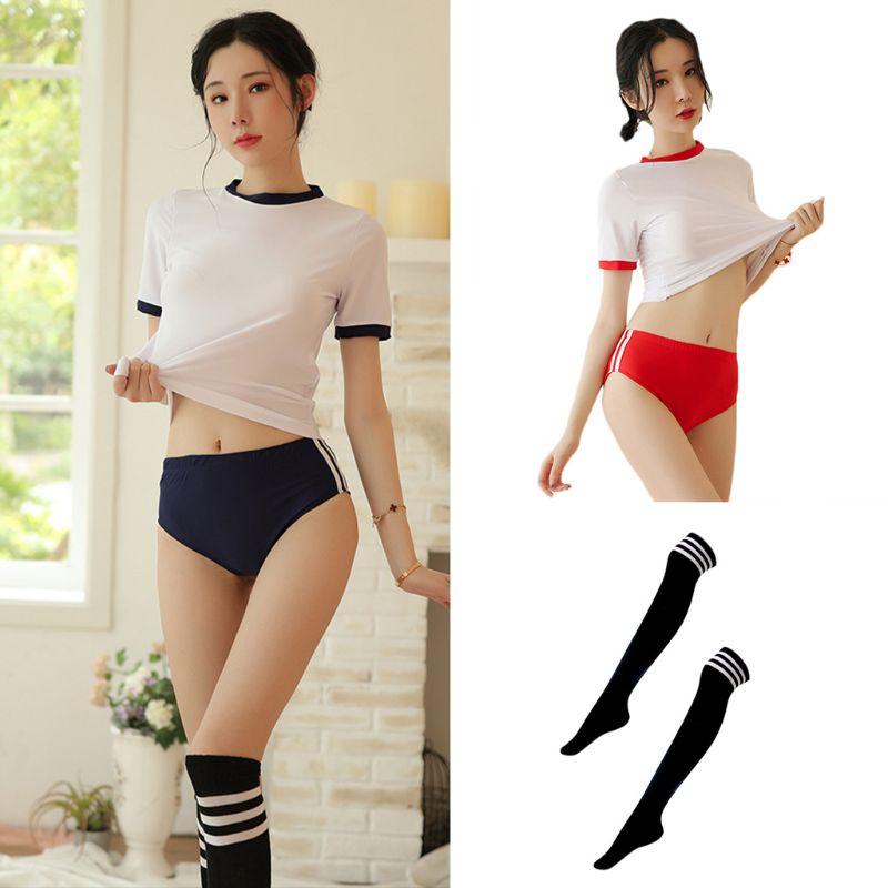 Women Sexy Japanese Schoolgirl Anime Uniform Lingerie Short Sleeve Crop Top Briefs Cosplay Cheerleading Sport Gym Suit