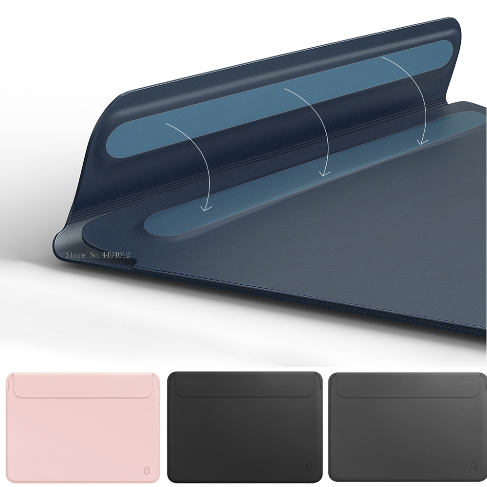 Laptop Bag For MacBook Touch ID Air 13 A1932 Leather Sleeve For MacBook Air Retina Pro 11 12 13 13.3 15 Ultra-slim Notebook Case