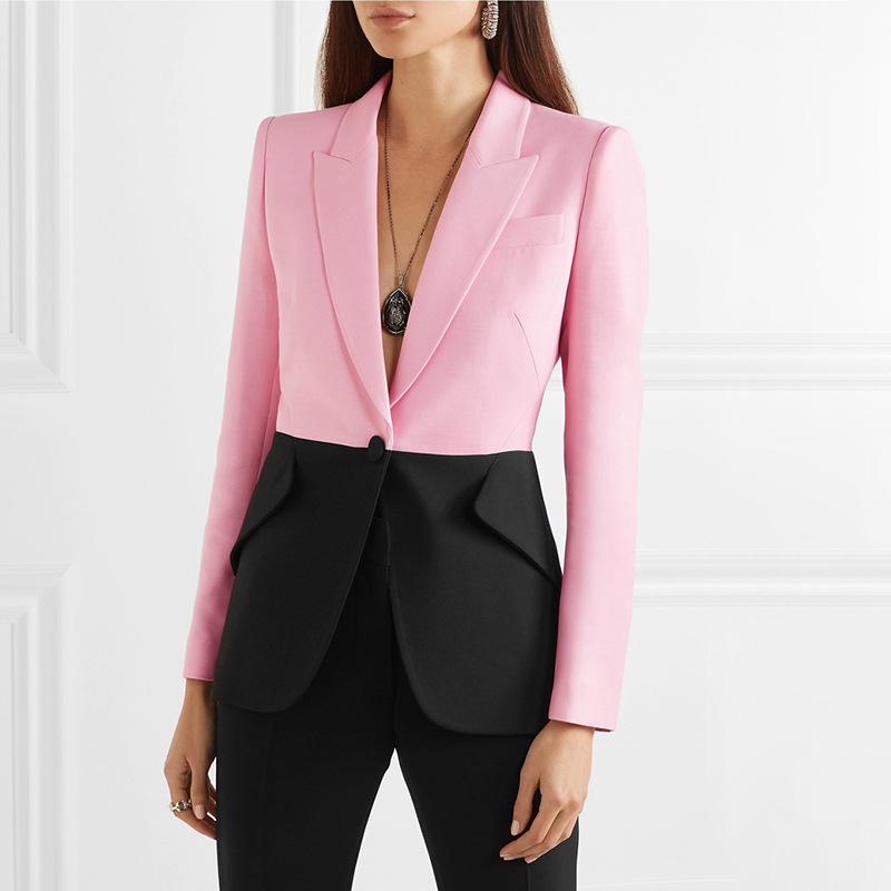 Women Blazer Colorblock Single Button Contrast Color Suit Blazer Women 2019 Autumn High Street