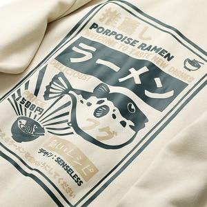 Image 4 - 2020 Japanese Harajuku Hoodie Sweatshirt Puffer Fish Print Mens Streetwear Hip Hop Hoodie Pullover Cotton New Hooded Sweatshirt