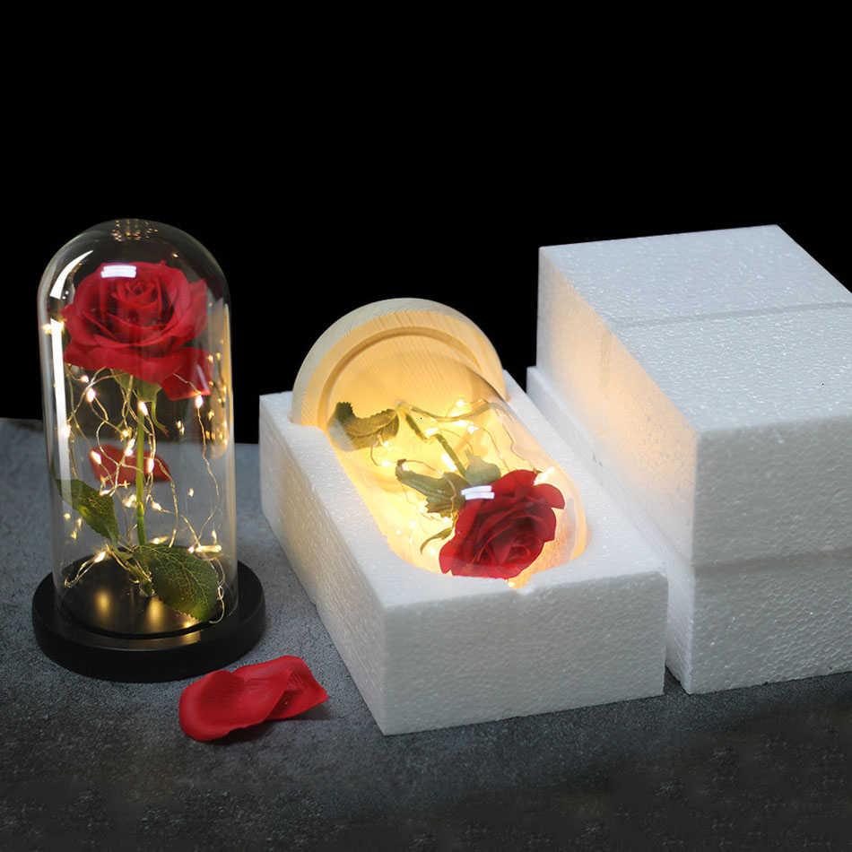 Romance Kehidupan Abadi Bunga Kaca Penutup Keindahan dan Binatang Rose LED Baterai Lampu Khusus Natal Hari Ibu Hadiah