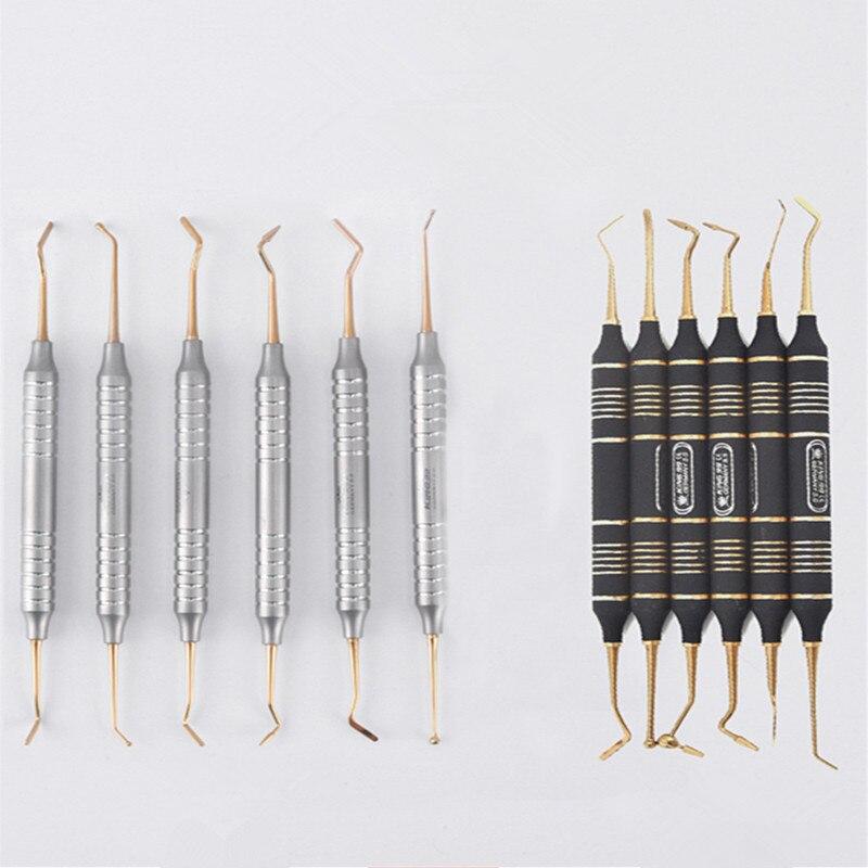6 pièces de remplissage de résine Composite dentaire spatule titane plaqué tête résine ensemble de remplissage poignée épaisse ensemble de restauration Instrument dentaire