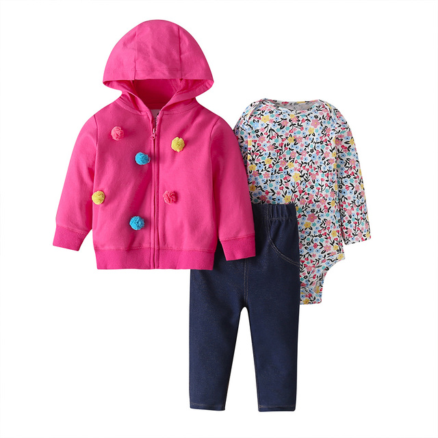 baby girl clothes long sleeve hooded jacket+floral bodysuit+pant 2020 fashion newborn outfit fall infant clothing set zipper 1