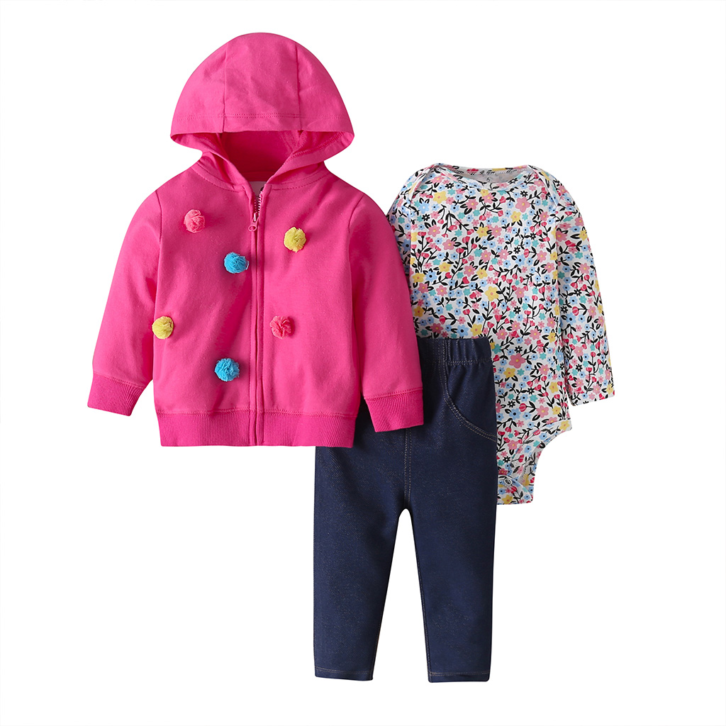 Baby Girl Clothes Long Sleeve Hooded Jacket+floral Bodysuit+pant 2020 Fashion Newborn Outfit Fall Infant Clothing Set Zipper
