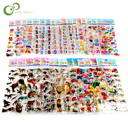 25 Sheets 3D Cartoon Stickers Waterproof Bubble PVC DIY Sticker Princess Car Girls Boys Kids Children Gifts GYH