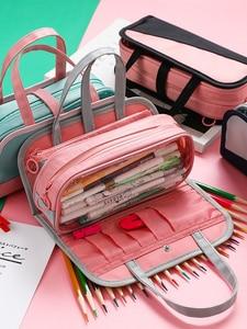 Image 1 - Multi Function Waterproof Large Capacity Pen Bag Pencil Case Schoolgirl High Capacity Stationery Case Originality Girl