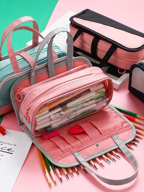 Multi Function Waterproof Large Capacity Pen Bag Pencil Case Schoolgirl High Capacity Stationery Case Originality Girl