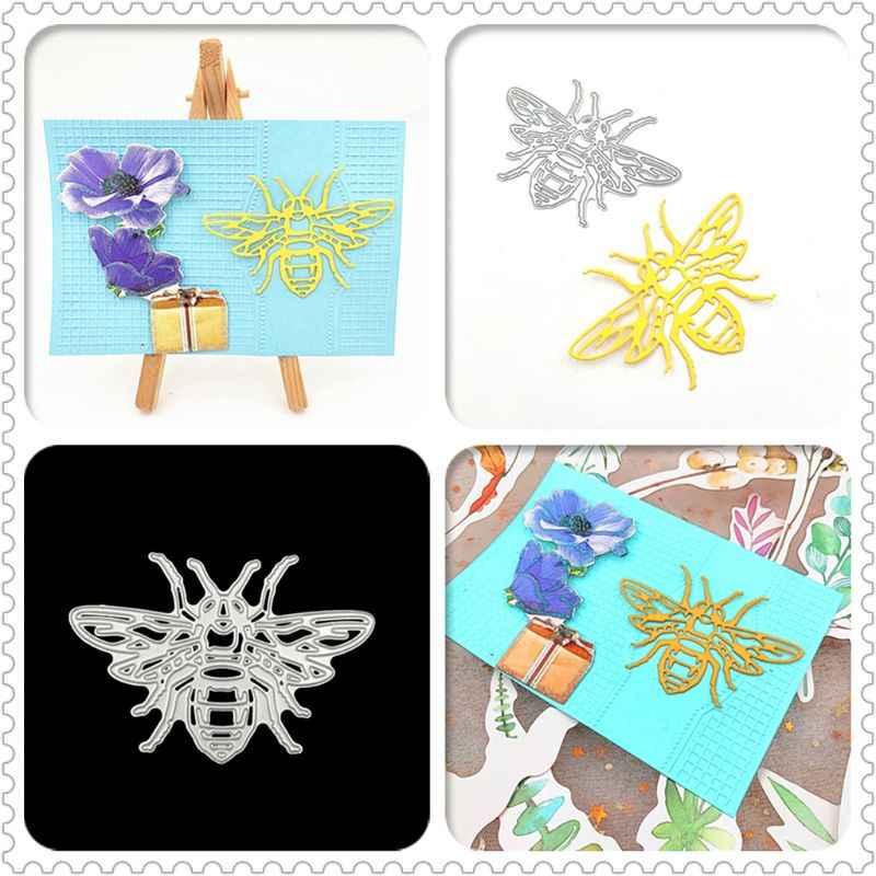 Bee Metal Cutting Dies Stensil Diy Scrapbooking Album Cap Kertas Kartu Embossing Kerajinan Dekorasi