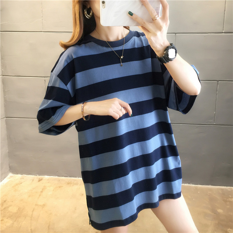 H5f0aab1cf3d34ea19c83620466fcbe95r - harajuku Women Striped Oversize Tshirt Chic Fashion 90s Short Sleeve Loose T-shirts Female Casual Tops Clothes Streetwear Tees