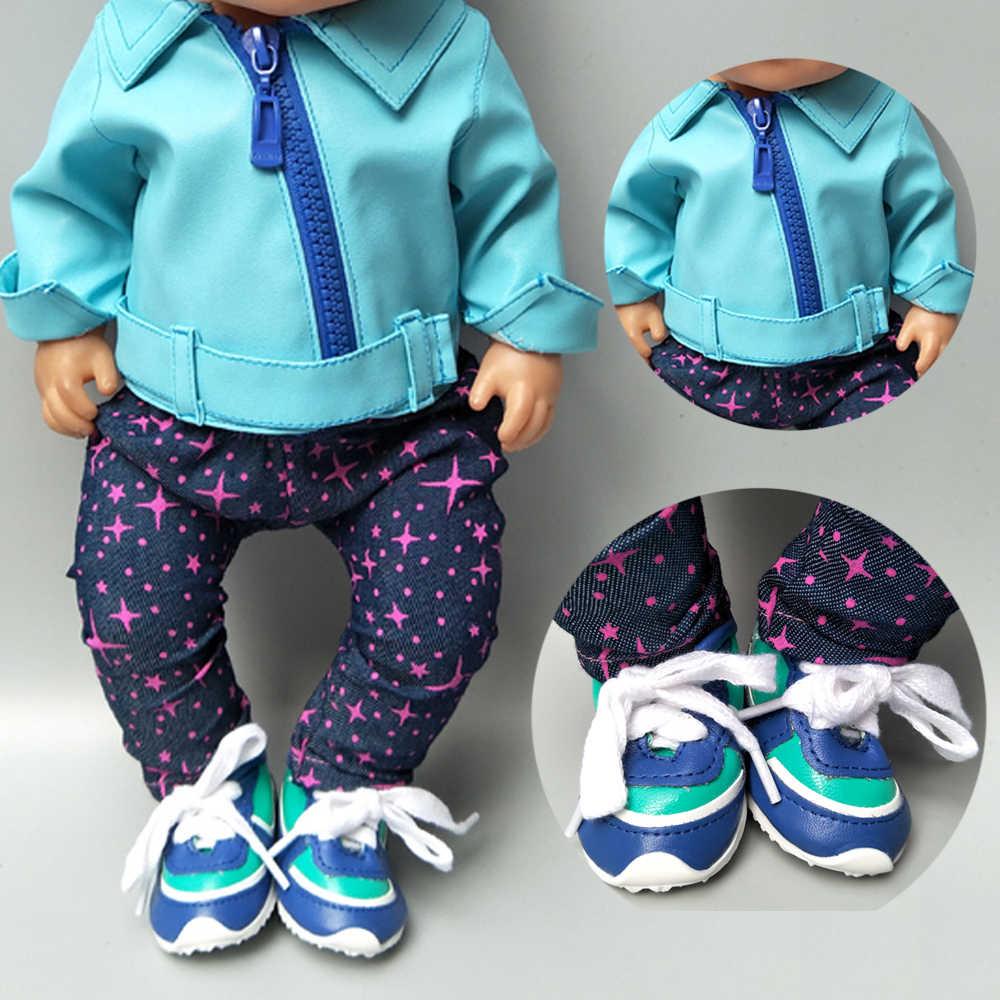Roupa da boneca roupas de inverno calças para 43 centímetros boneca casaco conjunto para 17 polegada baby doll preto jaqueta de couro pu roupas de inverno