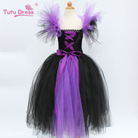 Halloween Tutu Dress Maleficent Evil Queen Fancy Kids Girl Birthday Party Princess Dress Cosplay Costumes for Girls 2 12 Years