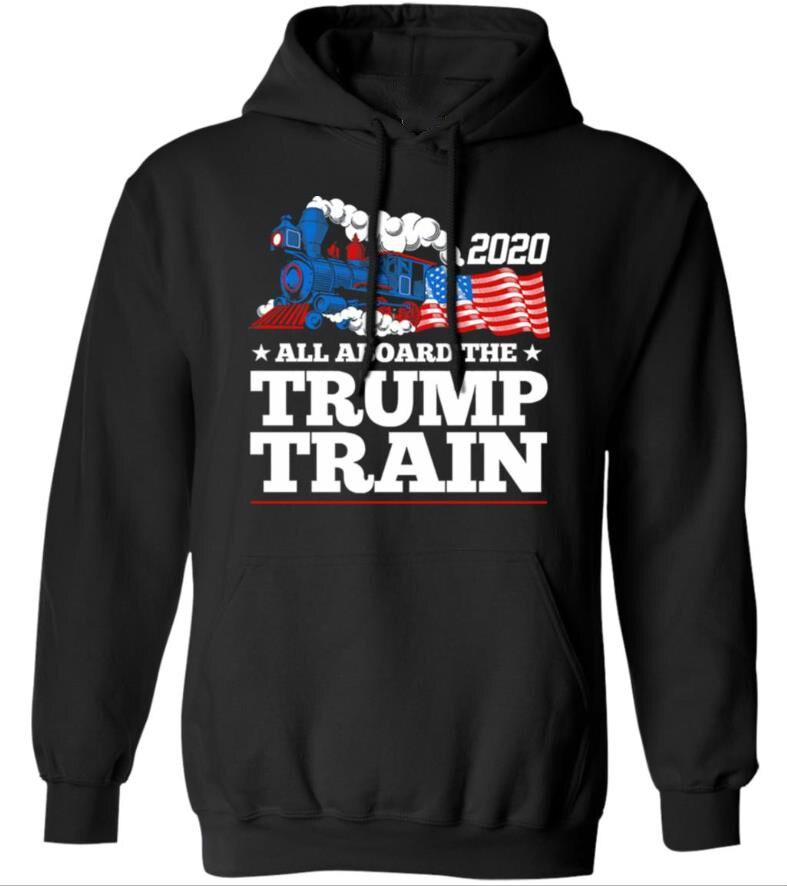 Black 2020 All Aboard The Trump Train Men's  Hoodie  HOT