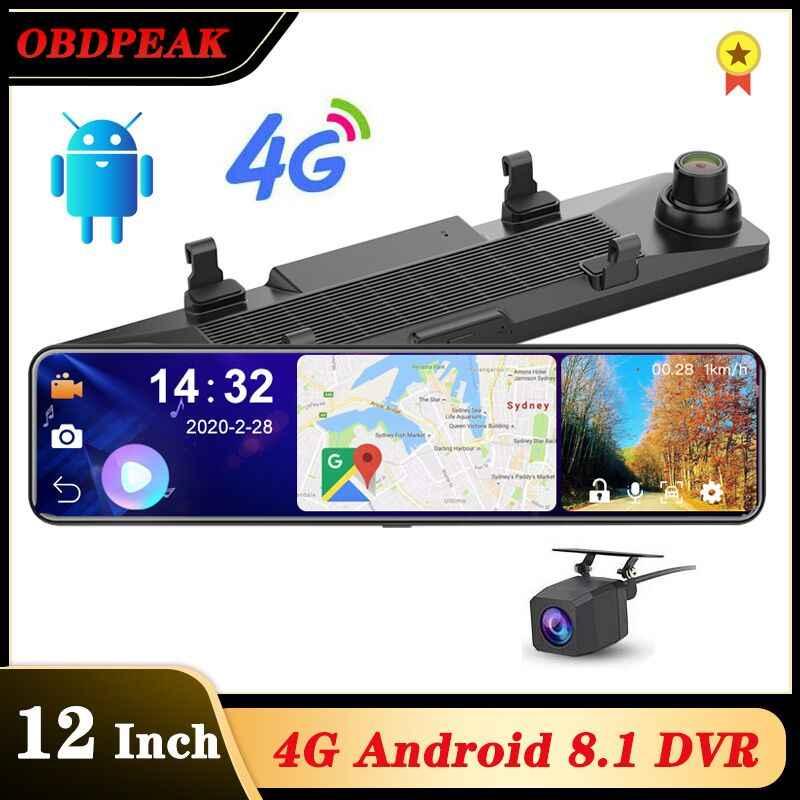 """OBEPEAK Thông Minh 12 """"Android 4G Wifi Chiếu Hậu Xe Ô Tô Dash Cam Gương Đầu Ghi Hình 3 Chia Màn Hình 24H Bãi Đỗ Xe ADAS Dual Dash Xe Đầu Ghi Hình"""
