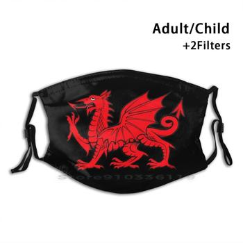Y Ddraig Goch | The Red Dragon Print Reusable Mask Pm2.5 Filter Face Mask Kids The Welsh Dragon Red Dragon Welsh Dragon Welsh image