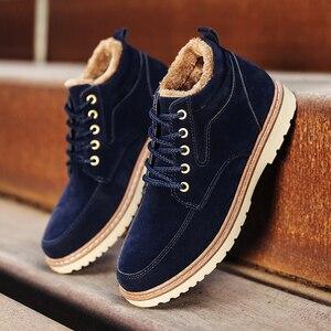 Image 4 - Hommes chaussures bottes dhiver hommes Nubuck cuir imperméable ajouter coton garder au chaud bois terre chaussures fond épais antidérapant Chelsea bottes