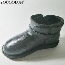 本物の牛革雪のブーツ女性の冬の女性フラット靴 A322 ファッションレディースブラックブラウングレーベージュバックル足首ブーツ
