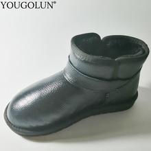 Hakiki inek deri kar botları kadın kış kadın düz ayakkabı ile A322 moda bayanlar siyah kahverengi gri bej toka yarım çizmeler
