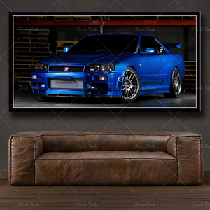 Modular wall art picture canvas HD print poster modern home decoration gorgeous Nissan Skyline R32 sports car painting frame